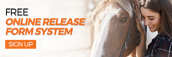 Button that links to Stablebuzz Stable Management's online release form system for equestrian business owners