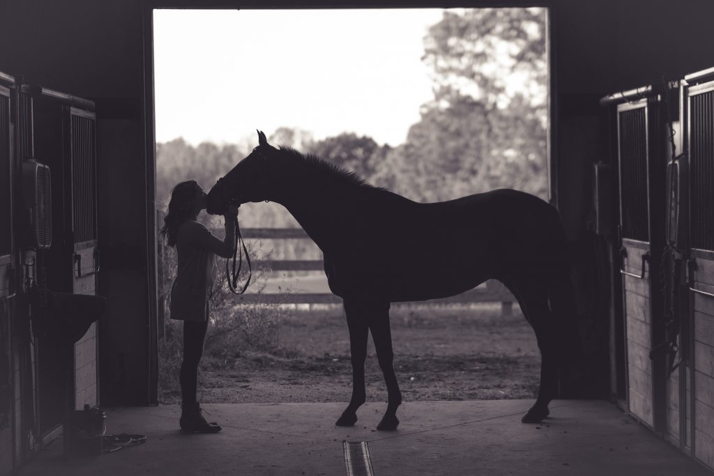 girl and horse in dark barn