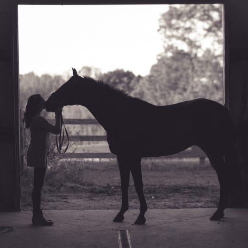 girl and horse in dark barn